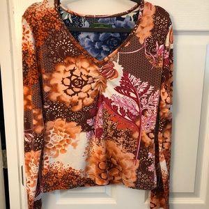 Oilily floral print long sleeve vneck T-shirt